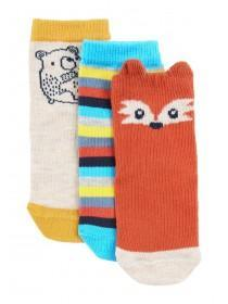 Baby Boys 3pk Orange Fox Socks