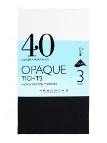 Womens Black 3pk 40 Denier Opaque Tights