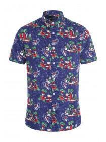 Mens Navy Novelty Christmas Shirt
