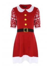 Womens Red Mrs Claus Knitted Dress