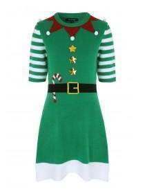 Womens Green Elf Knitted Dress