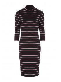 Womens Black Stripe Midi Dress