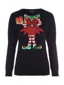 Womens Black Sequin Elf Christmas Jumper