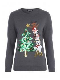 Womens Charcoal Sequin Tree Christmas Jumper