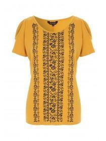 Womens Mustard Floral Top