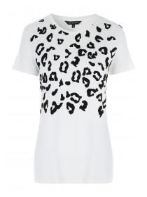 Womens White Flock Animal Print T-Shirt