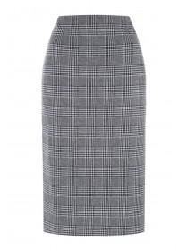 Womens Grey Check Pencil Skirt