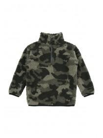 Younger Boys Khaki Camo Fleece Jacket