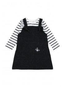 Baby Girls Black Sparkle Pinafore and T-Shirt Set