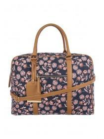 Womens Navy Floral Luggage Bag