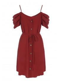 Womens Rust Cold Shoulder Button Up Dress