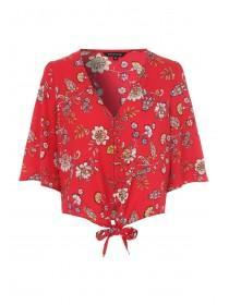Womens Red Floral Tie Front Top