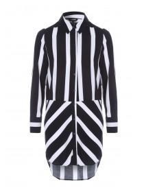 Womens Monochrome Stripe Long Line Shirt