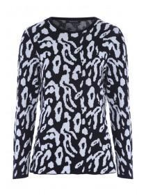 Womens Monochrome Animal Print Jumper