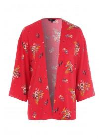 Womens Red Floral Kimono Jacket