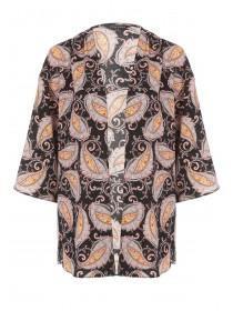 Womens Black Paisley Kimono Jacket
