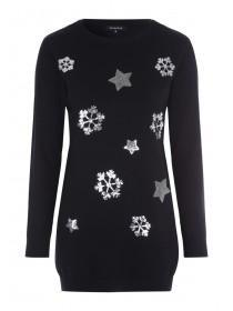 Womens Black Sequin Star Christmas Tunic Jumper