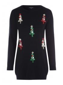 Womens Black Sequin Tree Christmas Tunic Jumper
