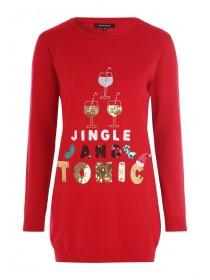 Womens Red Sequin Slogan Christmas Tunic Jumper