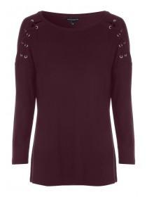 Womens Burgundy Lace Shoulder Top