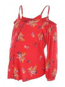 Maternity Red Floral Cold Shoulder Top