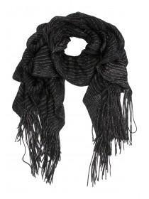 Womens Black Bouncy Knitted Scarf