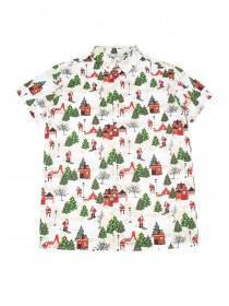 Older Boys White Christmas Short Sleeve Shirt