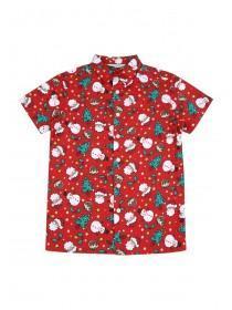 Older Boys Red Short Sleeve Christmas Shirt
