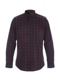 Mens Burgundy Check Long Sleeve Shirt