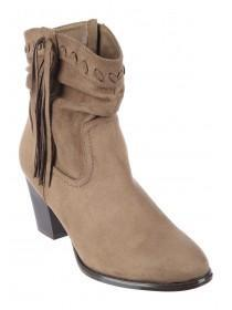 Womens Taupe Fringe Ankle Boots