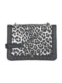 Womens Black Leopard Print Across Body Bag