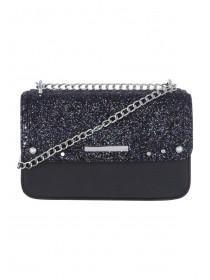 Womens Black Glitter Across Body Bag