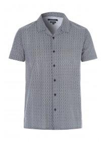 Mens Grey Geometric Short Sleeve Shirt