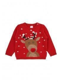 Unisex Baby Red Reindeer Christmas Jumper
