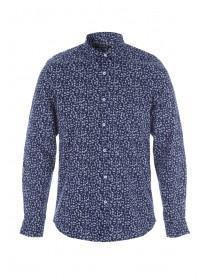 Mens Navy Floral Long Sleeve Shirt