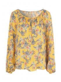 Womens Mustard Floral Gypsy Top