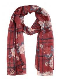 Womens Burgundy Check Floral Scarf