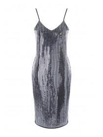 Womens Silver Sequin Strappy Dress