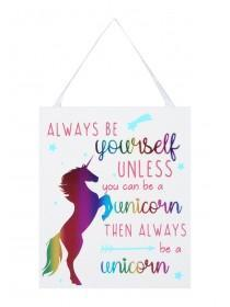 Multicolour Unicorn Slogan Plaque