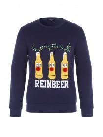 Mens Navy Christmas Slogan Sweater