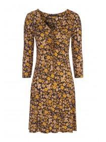Womens Mustard Floral Ruched Front Dress