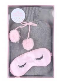 Grey Hot Water Bottle and Eye Mask Set