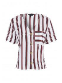 Womens Burgundy Stripe Button Up Top