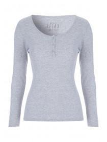 Womens Grey Ribbed Pyjama Top