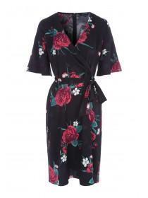 Womens Black Floral Wrap Dress