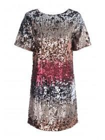 Womens Gold Ombre Sequin Dress