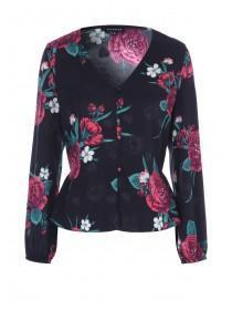 Womens Black Floral Button Front Top