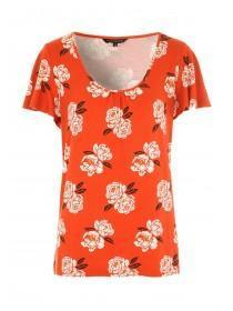 Womens Red Floral Angel Sleeve Top
