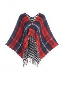 Womens Red Check Poncho Scarf