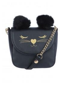 Younger Girls Black Small Across Body Cat Bag